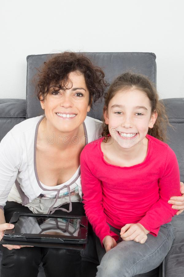 Daughter spend time with mother affection royalty free stock photo