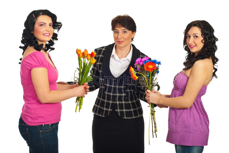 Download Daughters Offering Flowers To Mother Stock Image - Image: 18605657