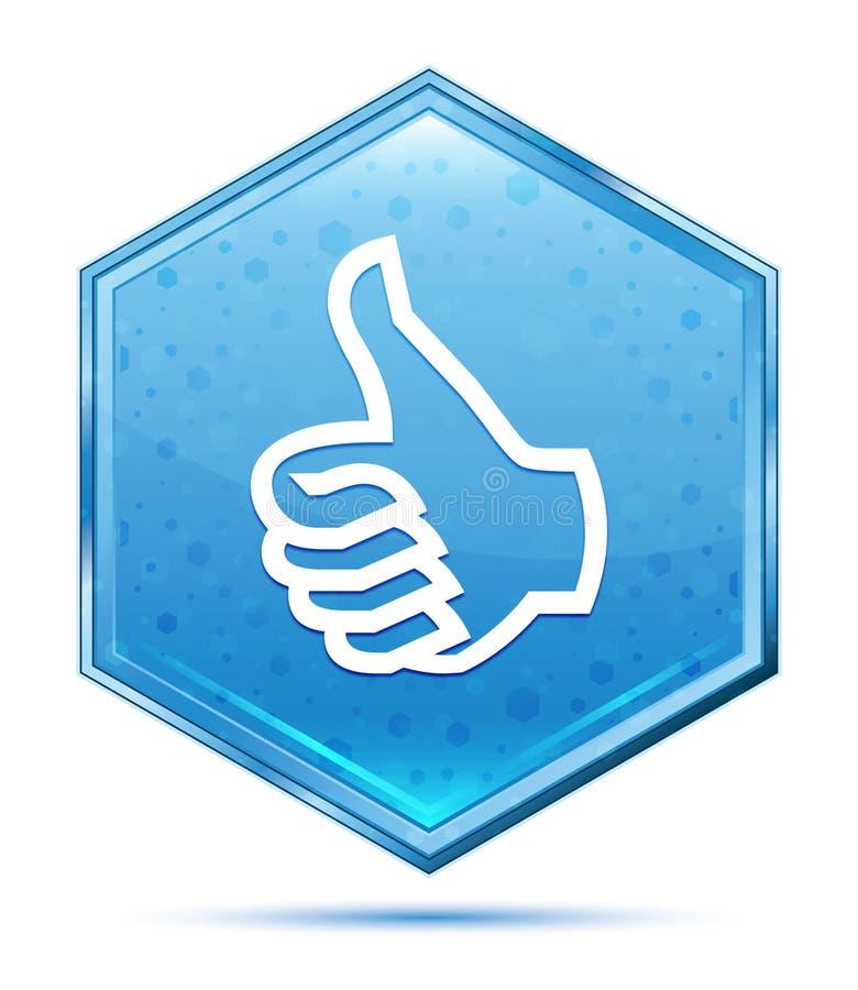 Daumen herauf blauen Hexagonkristallknopf der Ikone stock abbildung