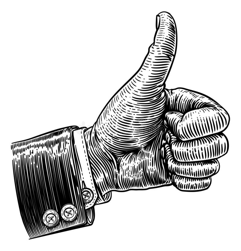 Daumen herauf Handzeichen-Weinlese-Retro- Holzschnitt stock abbildung