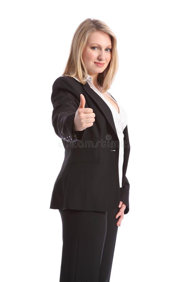 Daumen herauf Pluszeichen durch Geschäftsfrau in der Klage lizenzfreies stockfoto