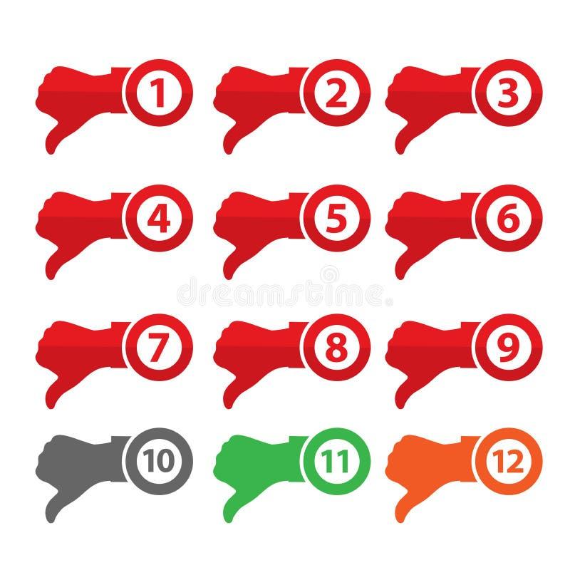 Daumen herauf Zeichen für Bloge und Web site Handdaumen unten Auf lagerabbildung stock abbildung