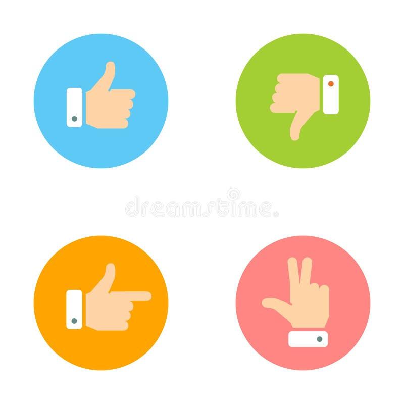 Daumen oben, Daumen unten, Friedenshand, Zeigefinger-Ikonen eingestellt vektor abbildung