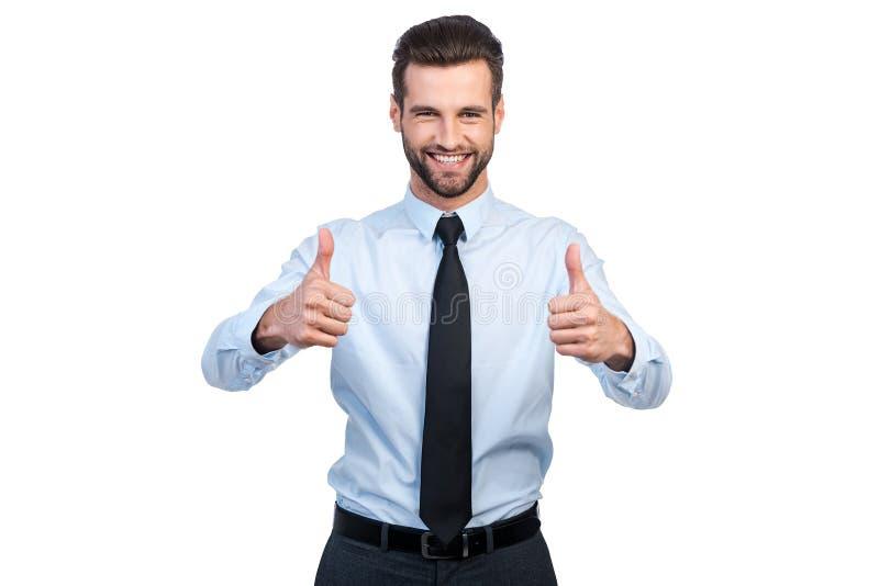 Daumen oben für Erfolg! lizenzfreie stockfotos