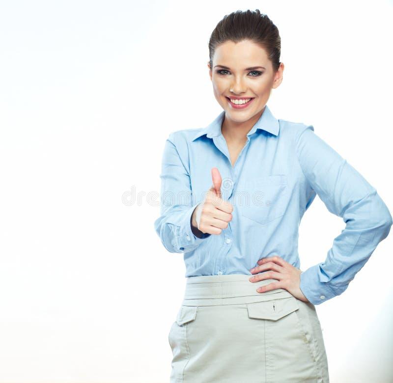 Daumen oben Lokalisierter weißer Hintergrund der Geschäftsfrau lizenzfreies stockfoto