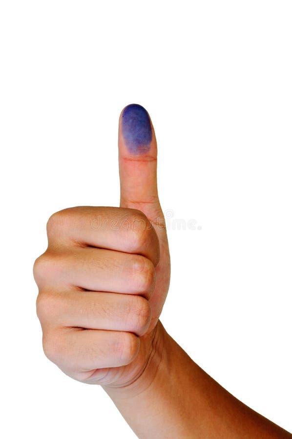 Daumen oben mit blauem Fingerabdruck stockfotografie