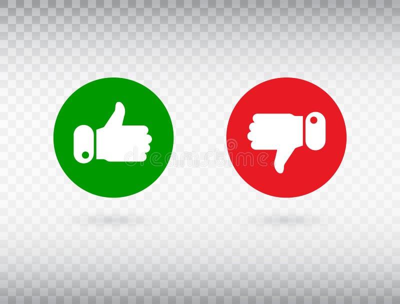 Daumen oben und Daumen hinunter Symbol lokalisiert auf transparentem Hintergrund Feedback-Konzept Wie Ikone Symbol des Sozialen N stock abbildung