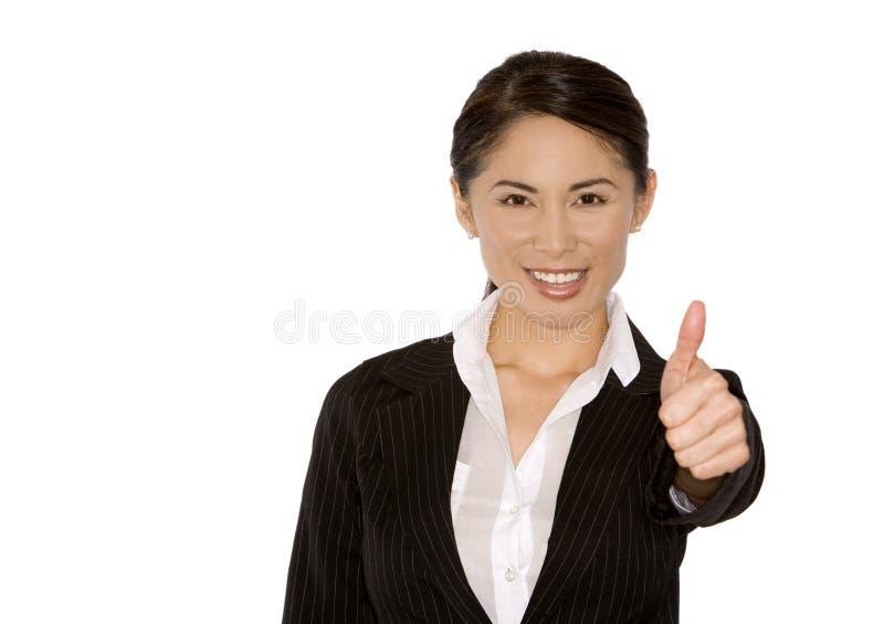 Daumen oben von der Geschäftsfrau lizenzfreie stockfotografie