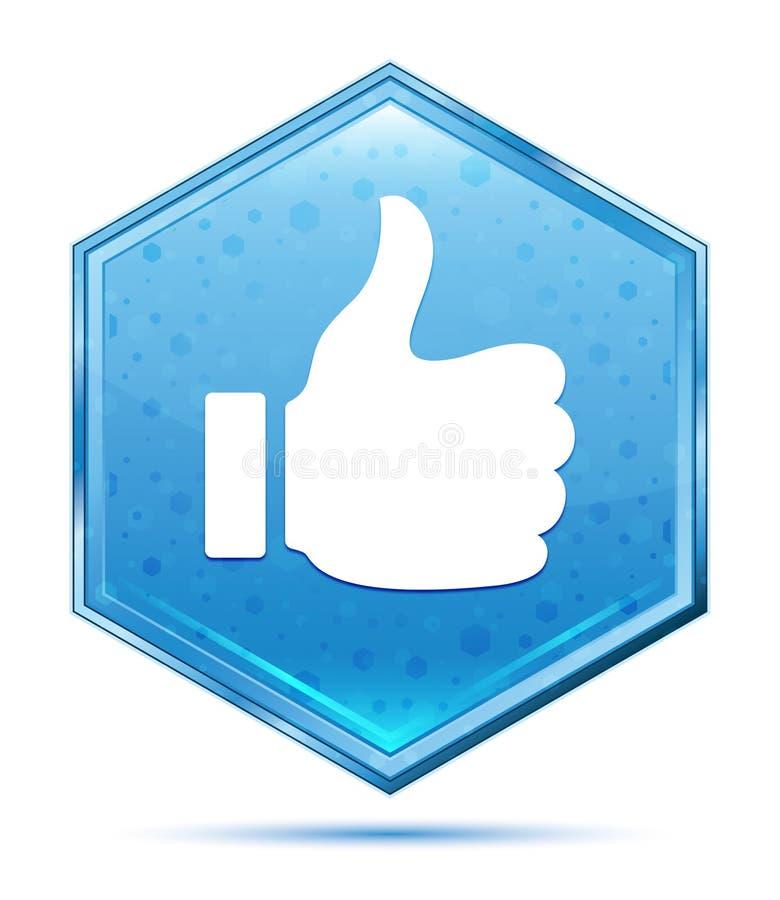Daumen oben wie blauer Hexagonkristallknopf der Ikone stock abbildung