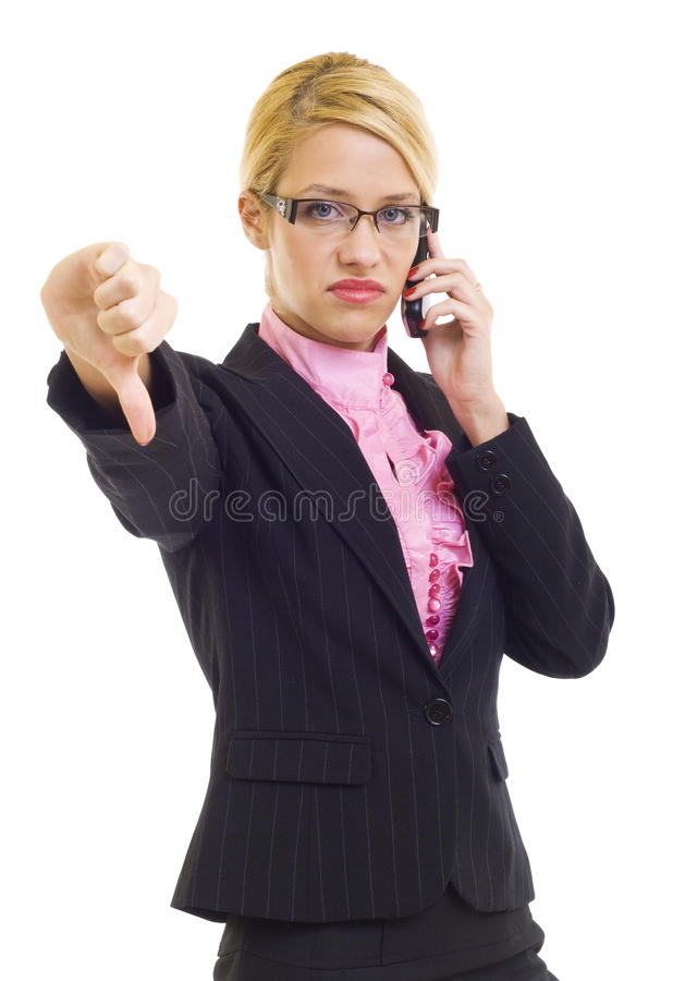 Daumen unten am Telefon lizenzfreies stockbild