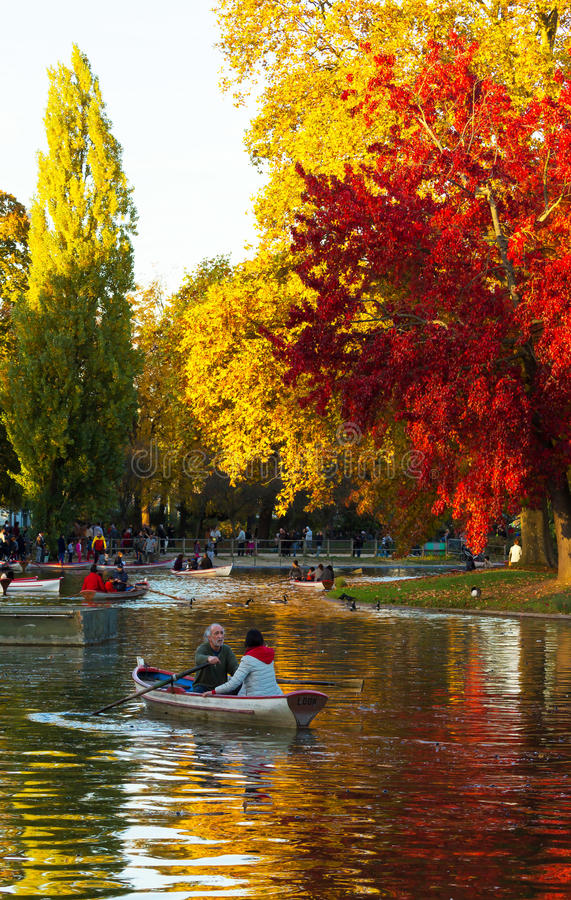 The Daumesnil lake in autumn , Vincennes forest,Paris, France. royalty free stock image