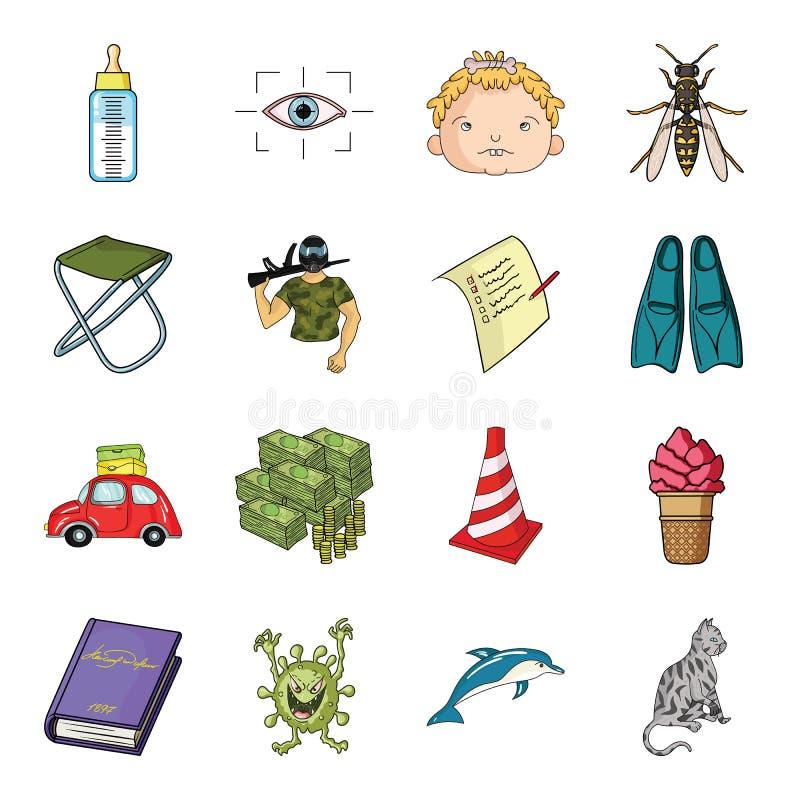 Dauphin, bétail, chat et toute autre icône de Web dans le style de bande dessinée virus, bactéries, icônes de monstre dans la col illustration stock