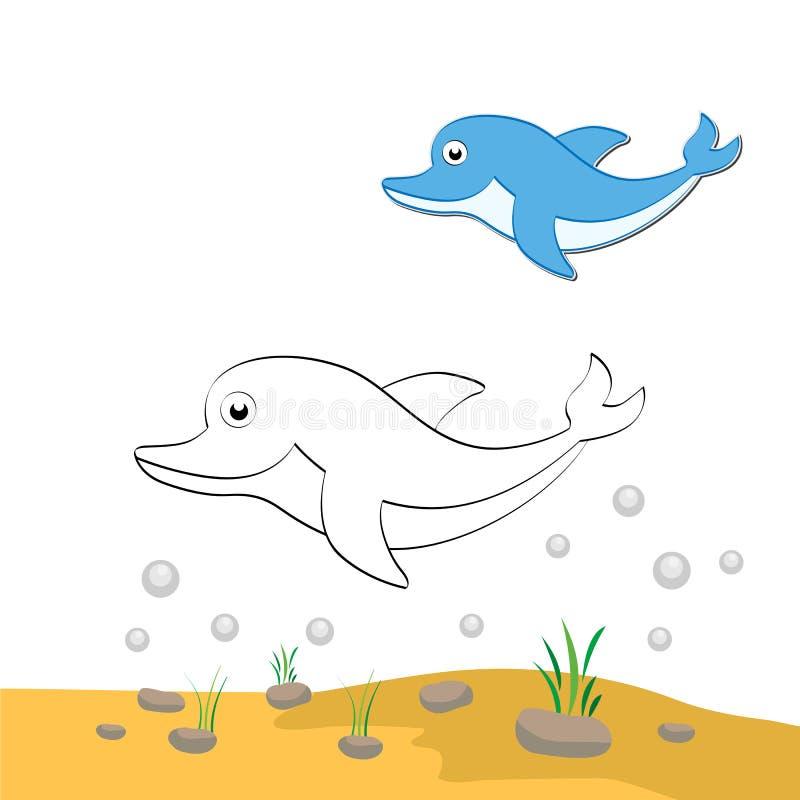 Dauphin de coloration illustration libre de droits