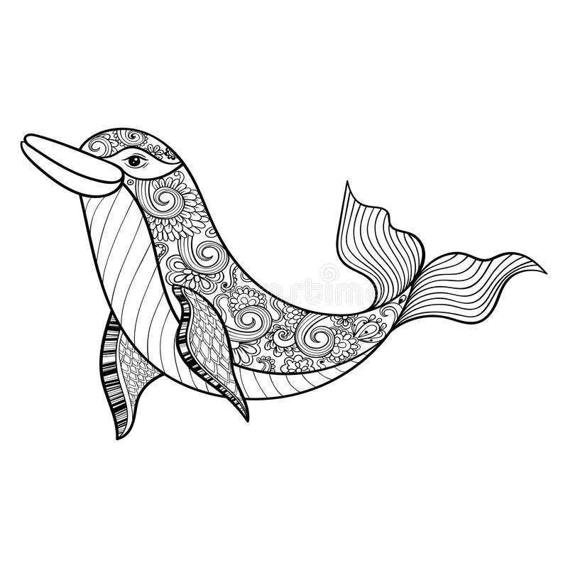 Dauphin de mer de vecteur de Zentangle pour l'anti page adulte de coloration d'effort illustration stock