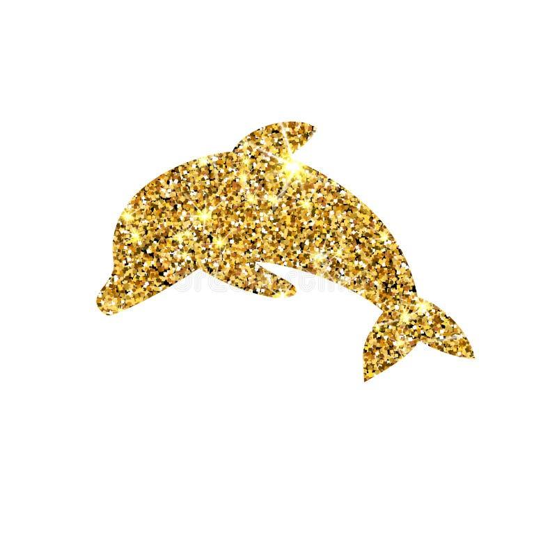 Dauphin de vecteur de scintillement d'or Poissons d'or d'étincelle illustration de vecteur