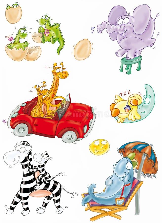 Dauphin de zèbre sous un éléphant pourpre de parasol, zevre dans la voiture, lune ascendante de canard soutenue par dragon illustration de vecteur