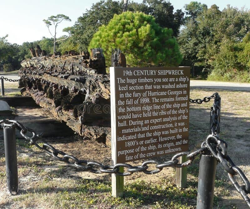 Dauphin Island Alabama Old Shipwreck permanece fotos de stock royalty free