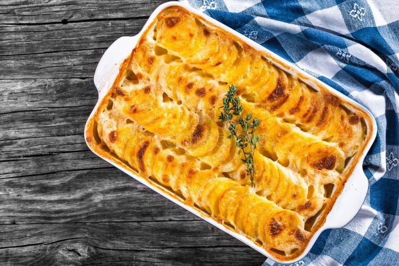 Dauphinois alla griglia, patate al forno in un piatto di cottura, primo piano fotografia stock libera da diritti