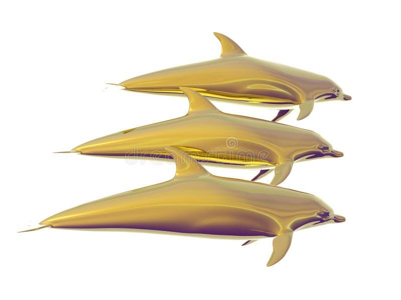 Dauphins d'or illustration libre de droits