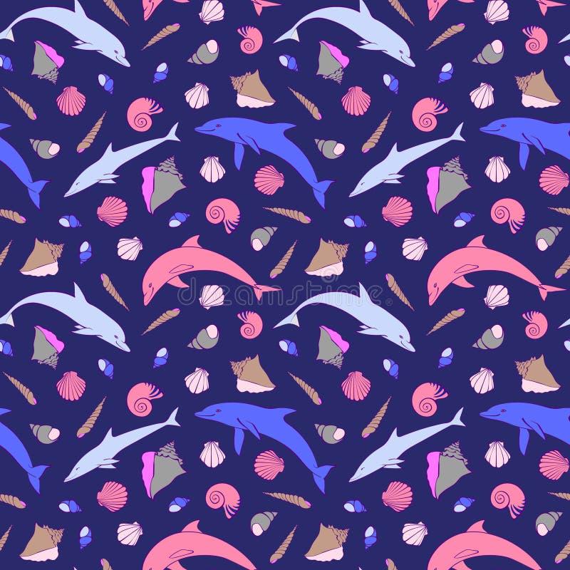 Dauphins et modèle sans couture de coquilles Illustration de vecteur de bande dessinée, animaux de mer mignons et genre différent illustration libre de droits
