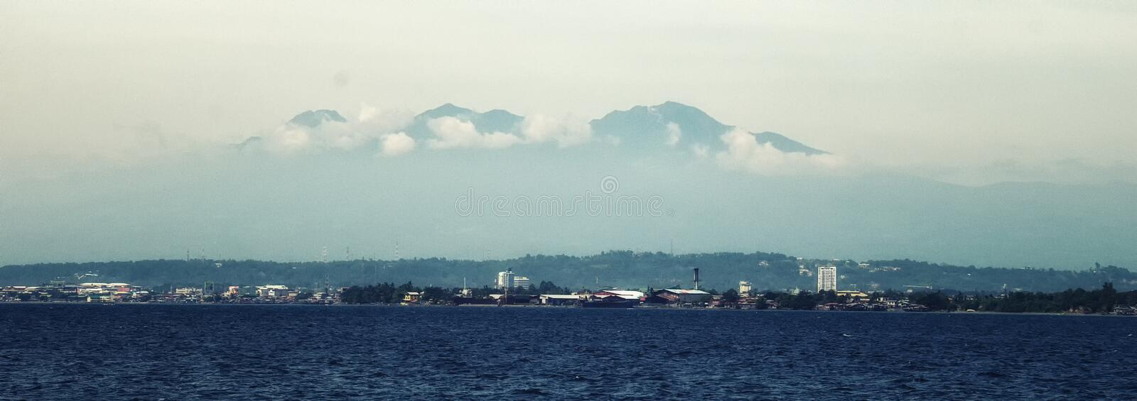 Davao city and Mount Apo. City of Davao is a highly urbanized city in the island of Mindanao, Philippines stock image