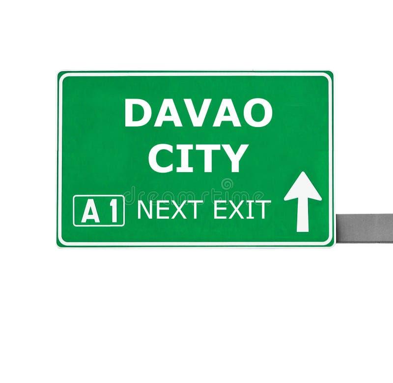DAVAO CITY road sign isolated on white. DAVAO CITY road isolated on white stock image