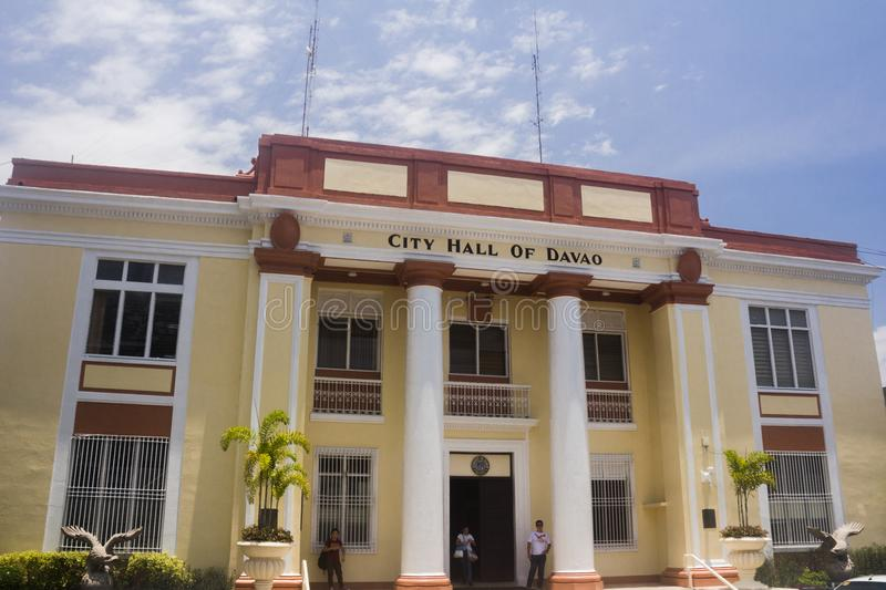 Close-up shot of The Davao City Hall. Davao, Philippines - August 18, 2018: Close-up shot of The Davao City Hall stock images
