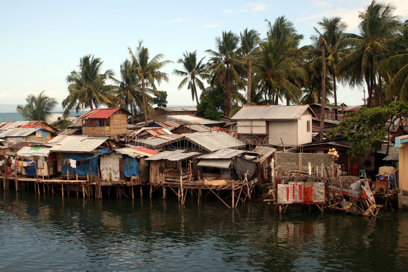 Davao Water Houses. Shanty Houses On Stilts In Philippines royalty free stock images