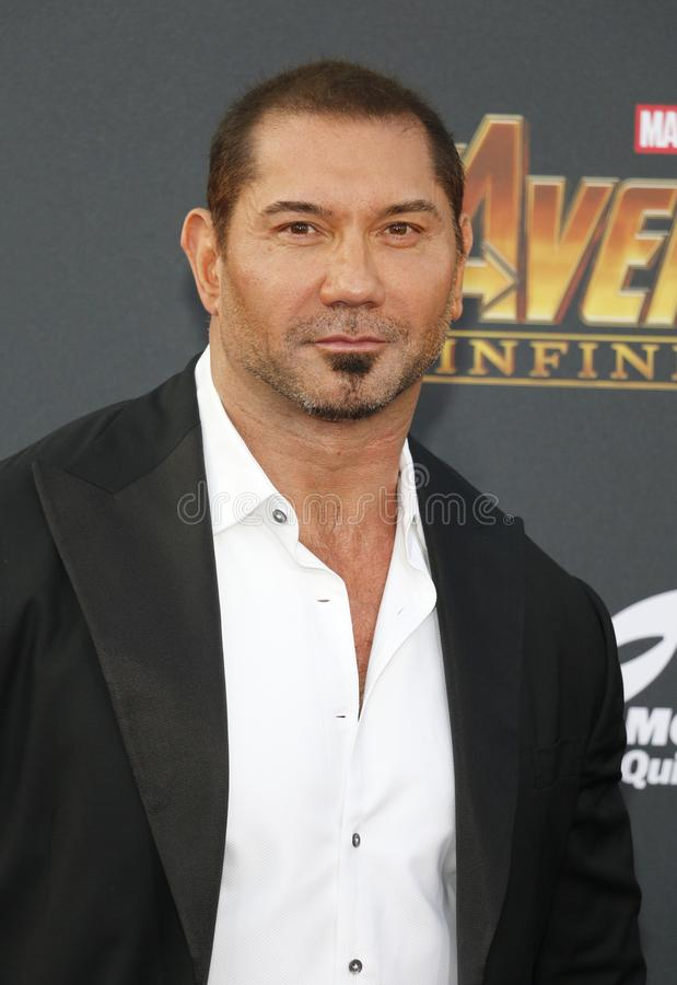 Dave Bautista. At the premiere of Disney and Marvel`s `Avengers: Infinity War` held at the El Capitan Theatre in Hollywood, USA on April 23, 2018 royalty free stock image