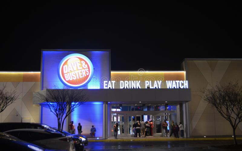 Dave and Buster`s Restaurant. Dave & Buster`s D&B is an American restaurant and entertainment business headquartered in Dallas. Each Dave & Buster`s has a full royalty free stock photography