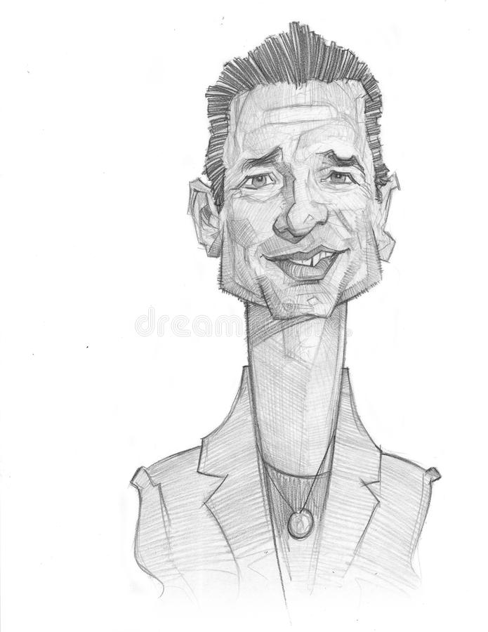 Dave Gahan Caricature portrait sketch stock photography
