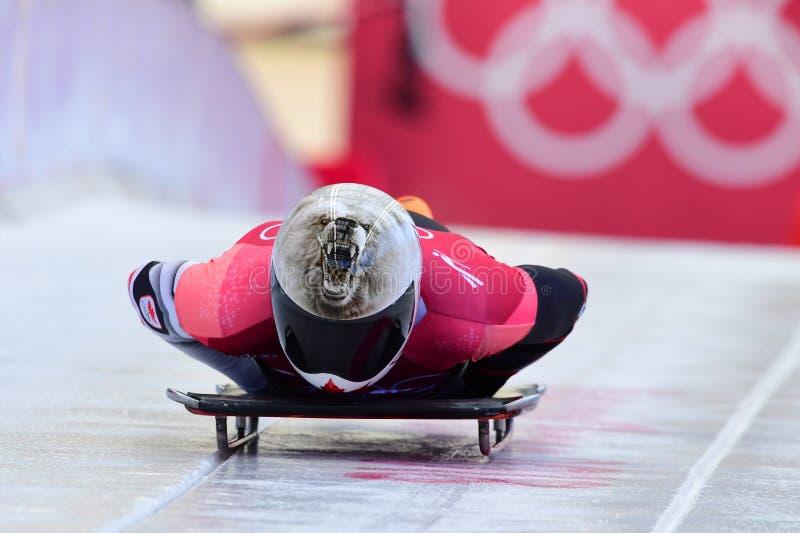 Dave Greszczyszyn de Canadá compite en el calor oficial del entrenamiento de los hombres esqueléticos en las 2018 olimpiadas de i foto de archivo