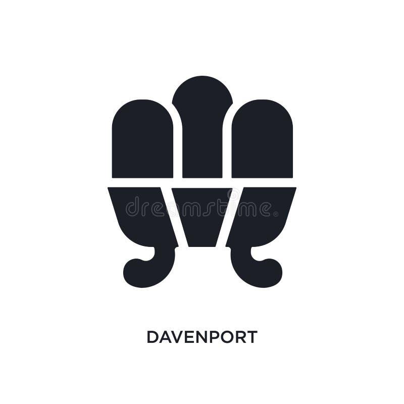 Davenport negra aisló el icono del vector ejemplo simple del elemento de iconos del vector del concepto de los muebles y del hoga stock de ilustración