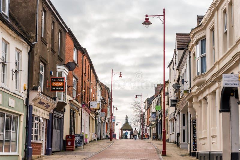 Daventry 13 de marzo de 2018 BRITÁNICO: Opinión del día de la calle de la gavilla en centro de ciudad de Daventry foto de archivo libre de regalías