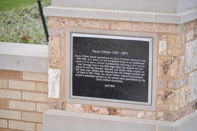 Davey O `在得克萨斯基督徒大学brien匾 库存图片