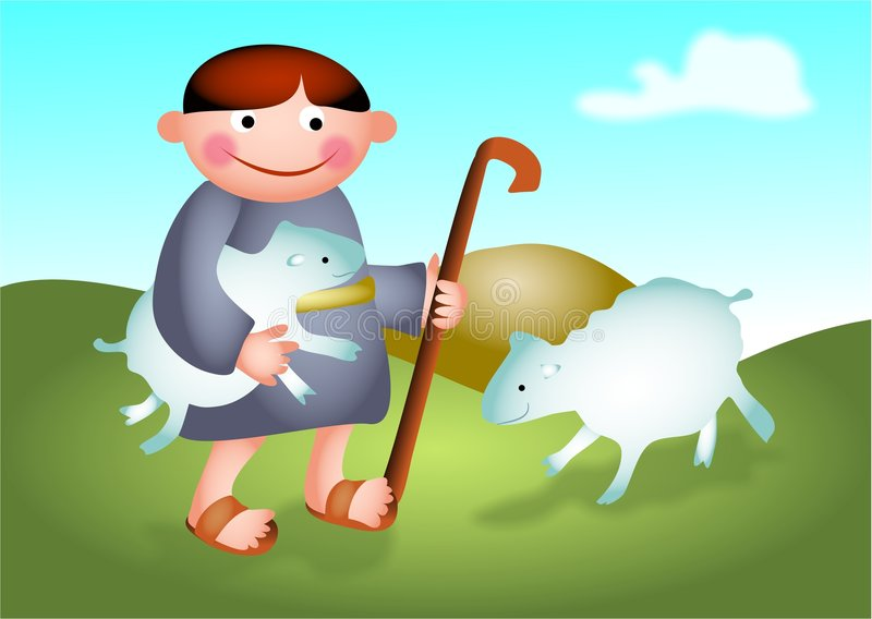 David. The shepherd boy tending the sheep stock illustration