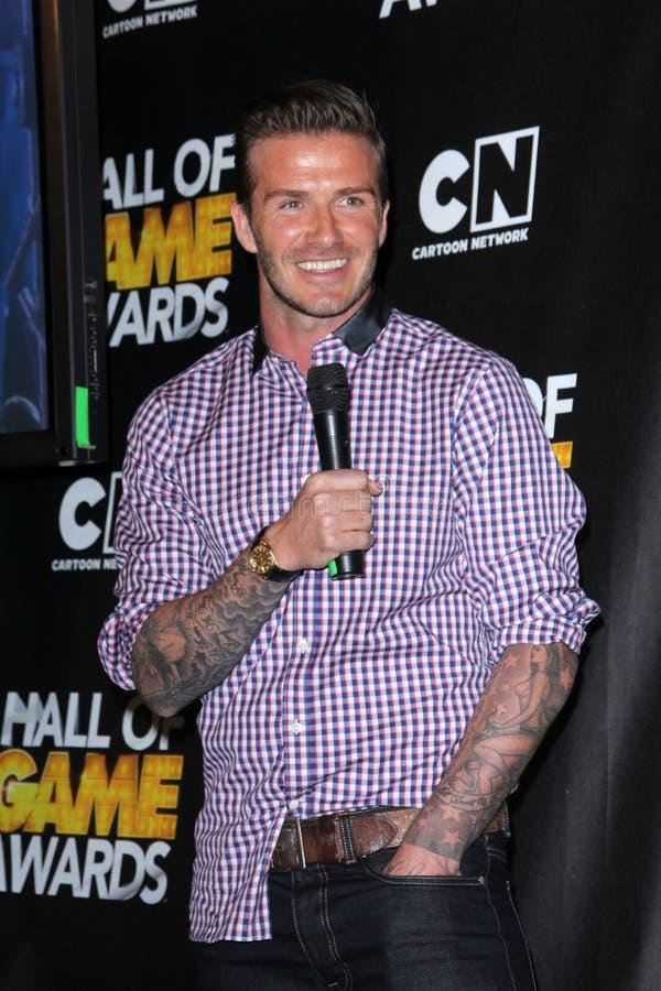David Beckham. At the Cartoon Network Hall of Game Awards, Barker Hangar, Santa Monica, CA 02-18-12 royalty free stock photos