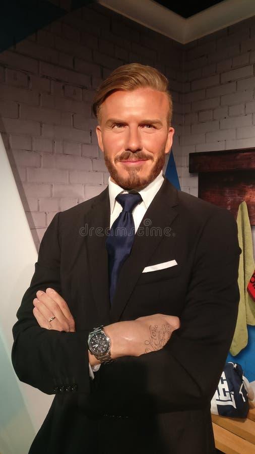 David Beckham bij Mevrouw Tussauds stock foto's
