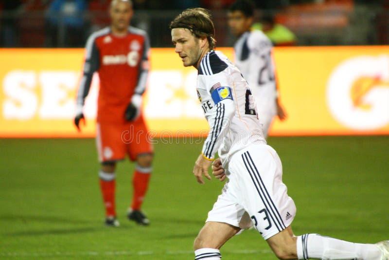 David Beckham TFC contra fútbol de la galaxia MLS del LA imagenes de archivo