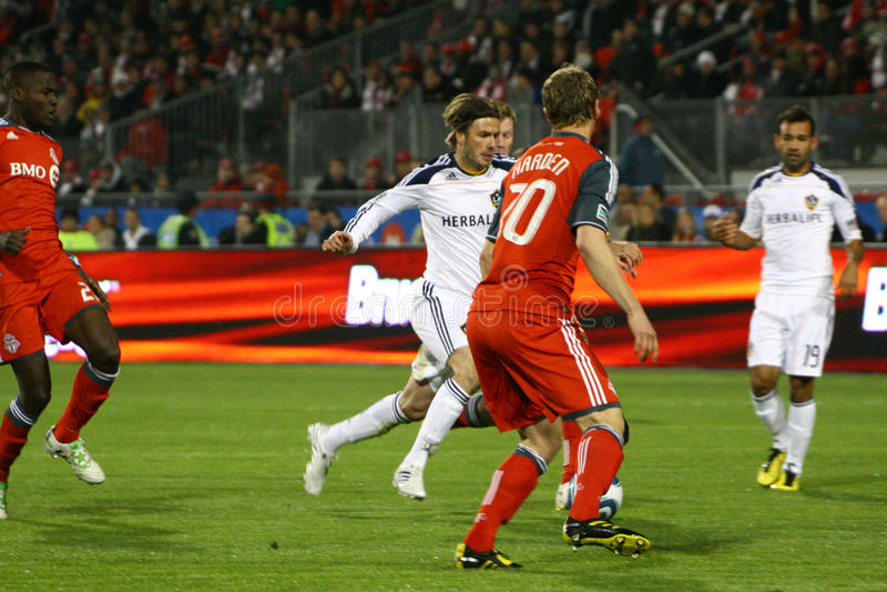 David Beckham TFC contra o futebol da galáxia MLS do LA foto de stock