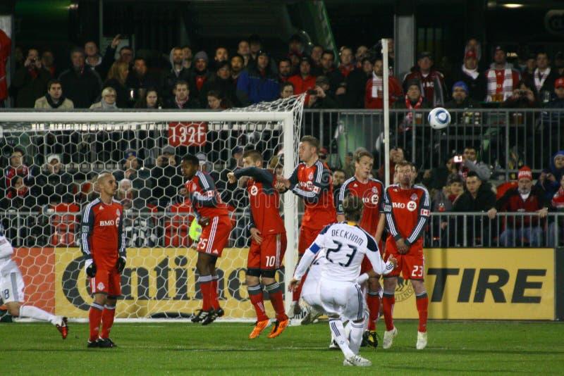 David Beckham TFC contra o futebol da galáxia MLS do LA foto de stock royalty free