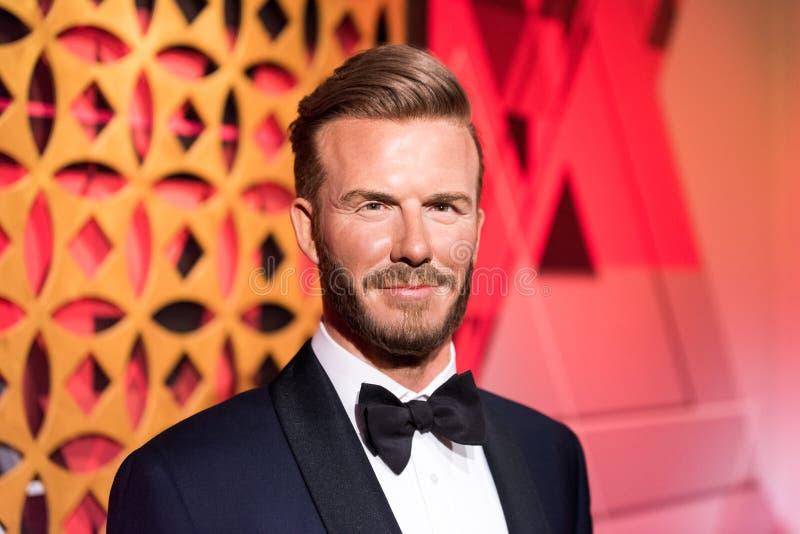 David Beckham wosku postać przy Madame Tussauds muzeum w Istanbuł obraz stock