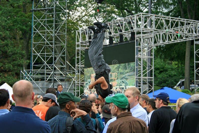 David Blaine in Central Park royalty-vrije stock afbeeldingen