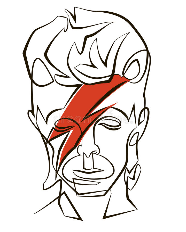David Bowie. A linear illustration of a portrait of singer David Bowie on a white background