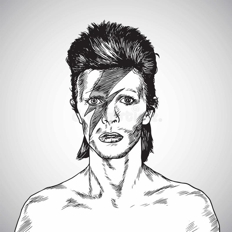 Free David Bowie Portrait Drawing Vector. October 31, 2017 Royalty Free Stock Photography - 102908417