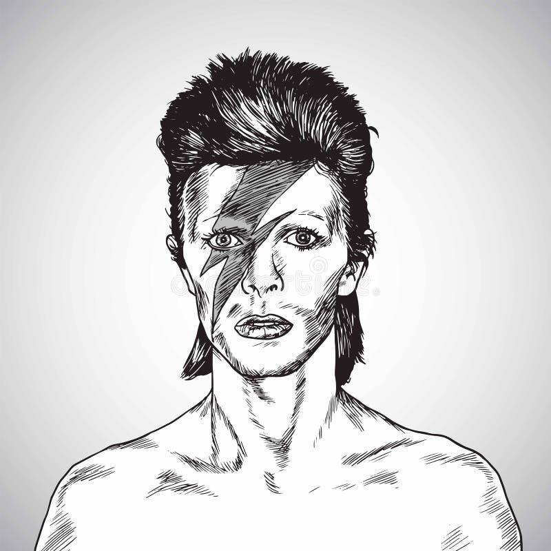 David Bowie Portrait Drawing Vector 31 octobre 2017