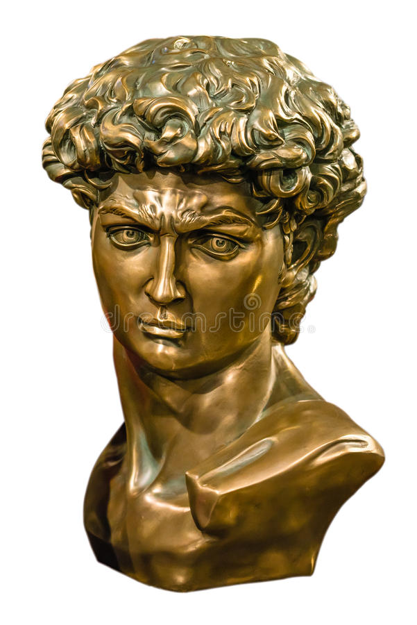 David bronze bust isolated. Bronze bust of Michelangelo's David isolated royalty free stock photography