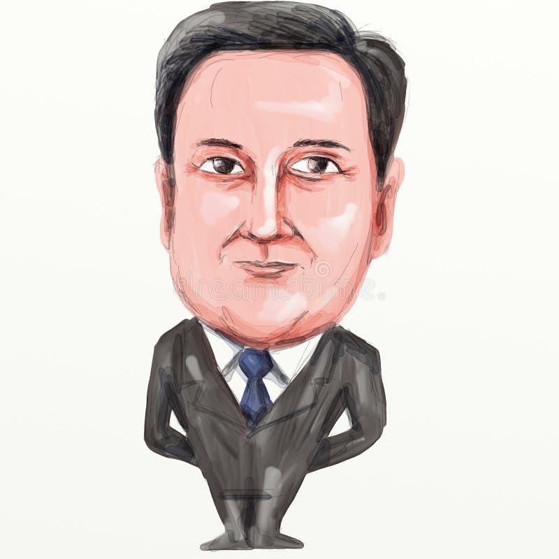 David Cameron British Prime Minister Cartoon ilustración del vector