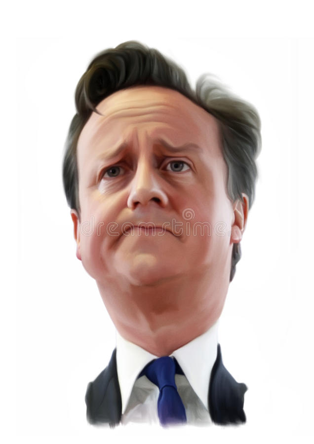 David Cameron Caricature portrait stock illustration