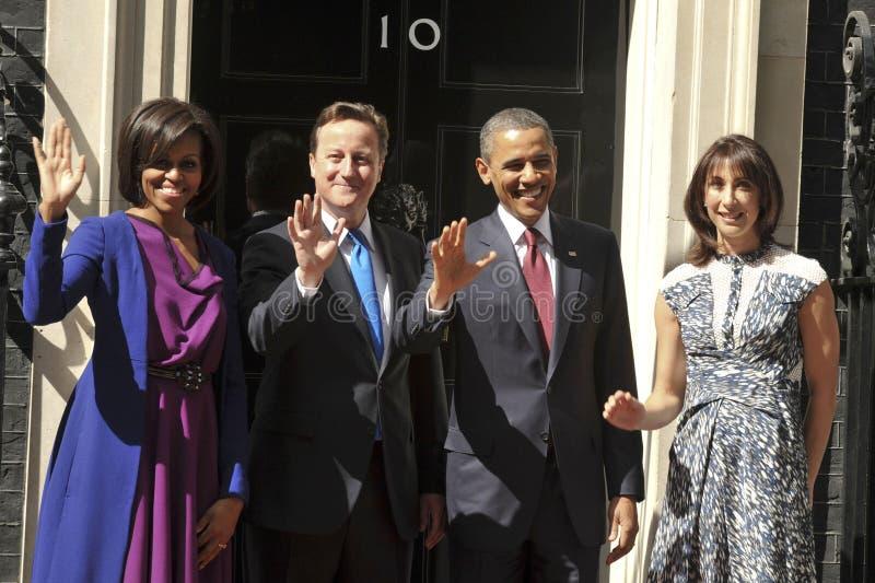 David Cameron, Michelle Obama, Barak Obama stock fotografie
